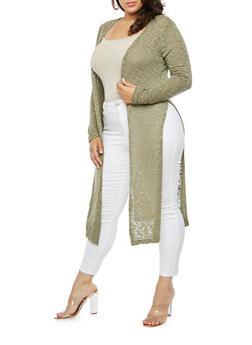 Plus Size Side Slits Cardigan - OLIVE - 3912062709933