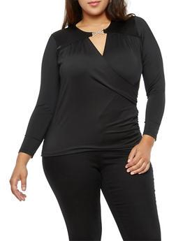 Plus Size Faux Wrap Long Sleeve Top - 3912062908591