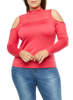 Plus Size Cold Shoulder Top with Mesh Detail - 3912062908627
