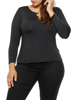 Plus Size Long Sleeve Top with Metal Accents - 3912062908675