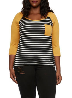 Plus Size Striped Top with High Low Hem - 3912072243444