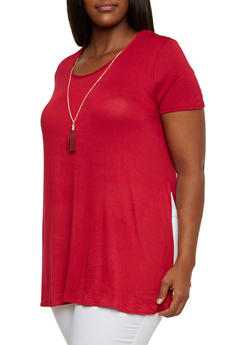 Plus Size Tunic Top with Side Slits and Scoop Neck - 3912072245402