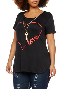 Plus Size Graphic T-Shirt with Key Necklace - 3912072245522