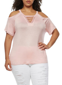 Plus Size Keyhole Cold Shoulder Top - SILVER PINK - 3912072891727