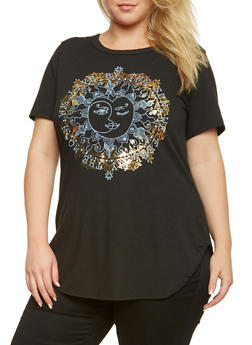 Plus Size Top with Sun and Moon Graphic - 3912073301500