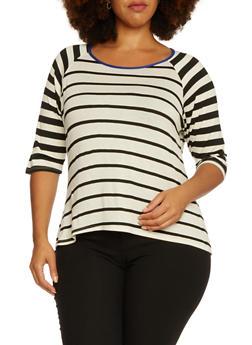 Plus Size Striped Raglan Sleeve Top - 3912073306763