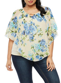 Plus Size Printed Chiffon Overlay Top - 3912074012407