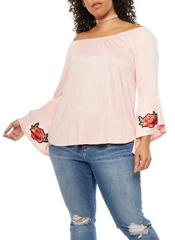 Plus Size Off the Shoulder Bell Sleeve Top with Floral Applique - 3912074012491