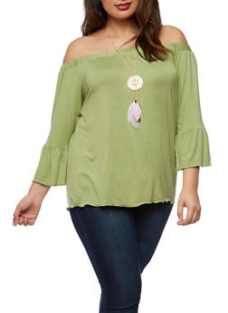 Plus Size Off the Shoulder Top with Necklace - 3912074014763