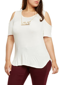 Plus Size Cold Shoulder Top with Love Necklace - IVORY - 3912074014769