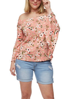 Plus Size Floral Off the Shoulder Top with Bell Sleeves - 3912074014839