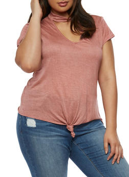Plus Size Knotted Keyhole T Shirt - 3912074014881