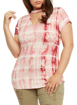 Plus Size Tie Dye Mock Neck Top with Keyhole - 3912074014888