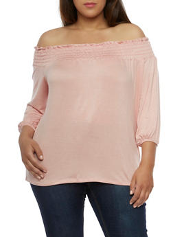 Plus Size Smocked Off the Shoulder Top - 3912074014912
