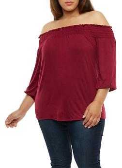Plus Size Smocked Off the Shoulder Top - BURGUNDY - 3912074014912
