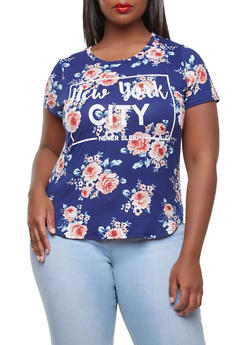 Plus Size Soft Knit NYC Graphic Top - 3912074285905
