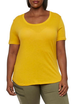 Plus Size High-Low T-Shirt - GOLD - 3915054268108