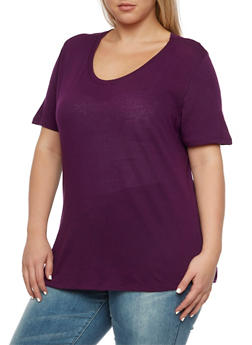 Plus Size High-Low T-Shirt - 3915054268108