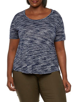 Plus Size Space Dye Tee with High-Low Hem - 3915054268468