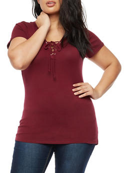 Plus Size Lace Up Short Sleeve Top - 3915054268931