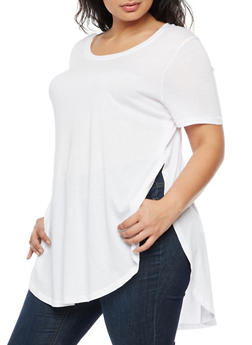 Plus Size Oversized Side Slits T Shirt - WHITE - 3915054269411