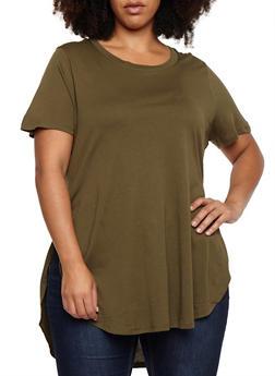 Plus Size Oversized Side Slits T Shirt - OLIVE - 3915054269411