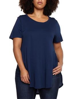 Plus Size Oversized Side Slits T Shirt - 3915054269411