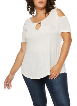 Plus Size Metallic Bar Detail Cold Shoulder Top - WHITE - 3915058930603
