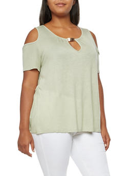 Plus Size Metallic Bar Detail Cold Shoulder Top - 3915058930603