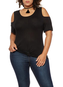 Plus Size Knot Front Cold Shoulder Top with Tassel Choker - 3915058930604