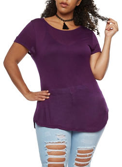 Plus Size Solid Top with Tassel Choker - 3915058933281