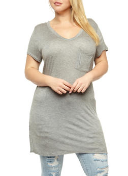 Plus Size V Neck Tunic T Shirt - 3915058933341