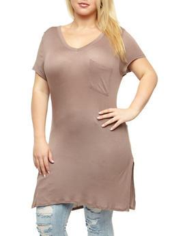 Plus Size V Neck Tunic T Shirt - 3915058933341