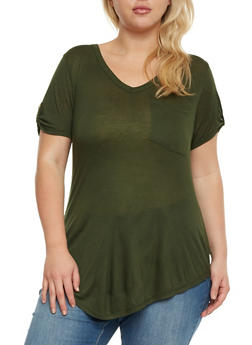 Plus Size V Neck T Shirt with Tabbed Sleeves - 3915058935041