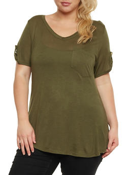 Plus Size V Neck T Shirt with Tabbed Sleeves - OLIVE - 3915058935041
