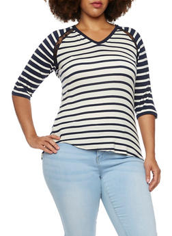 Plus Size Striped Top with Lace Insets and V Neck - 3915072891285