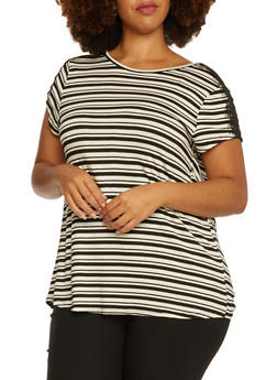Plus Size Striped Top with Wrap Back - 3915072891324