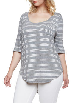 Plus Size Jersey Top with Scoop Neck - 3915072891345