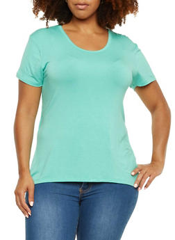 Plus Size Jersey Top with Draped Open Back Paneling - 3915073090406