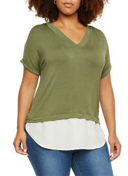 Plus Size Double V-Neck Top with Extended Chiffon Hem - 3915073090413