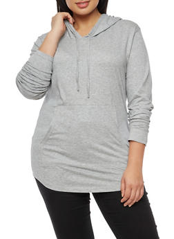 Plus Size Solid Hooded Long Sleeve Top - 3917033874775
