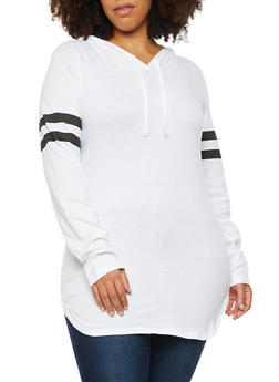 Plus Size Long Sleeve Hooded Top with Stripes - WHITE - 3917033875343