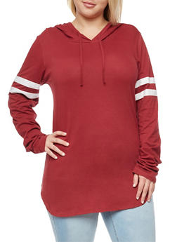 Plus Size Long Sleeve Hooded Top with Stripes - 3917033875343