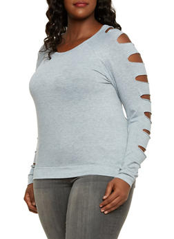 Plus Size Top with Slashed Sleeves - 3917038341210