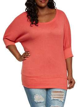 Plus Size Slouchy Top with Dolman Sleeves - 3917038341213
