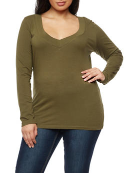 Plus Size Wide V Neck Long Sleeve Top - 3917054260002