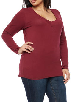 Plus Size Wide V Neck Long Sleeve Top - BURGUNDY - 3917054260002