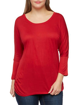 Plus Size Long Sleeve Dolman Top with Scoop Neck - 3917054260055