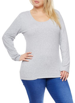 Plus Size Long Sleeve Basic Top - 3917054260060
