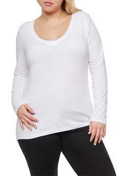 Plus Size Long Sleeve V Neck Top - WHITE - 3917054260062